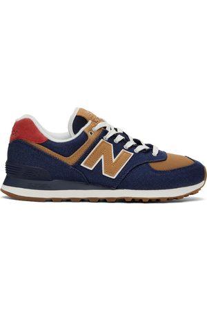 New Balance & Brown Denim 574 Sneakers