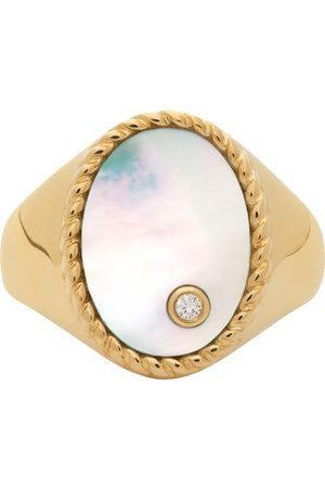 YVONNE LÉON Gold Oval Nacre Signet Ring