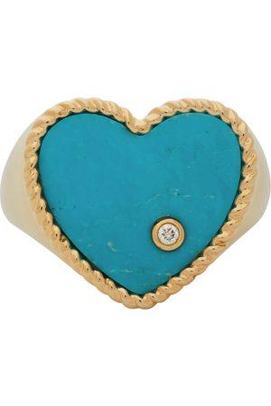 YVONNE LÉON Gold & Blue Coeur Signet Ring