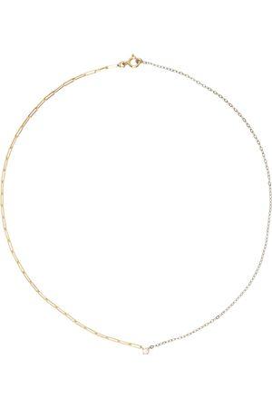 YVONNE LÉON Gold & White Gold Solitaire Diamond Necklace