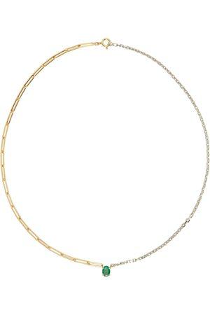 YVONNE LÉON Gold & White Gold Emerald Solitaire Maxi Necklace