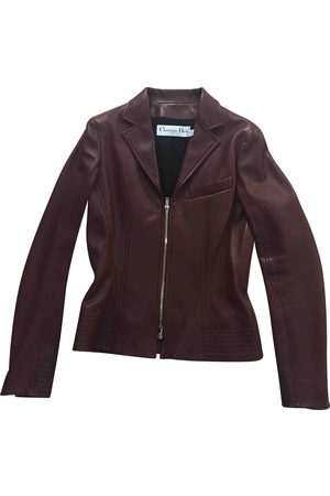 Dior Burgundy Leather Leather Jackets