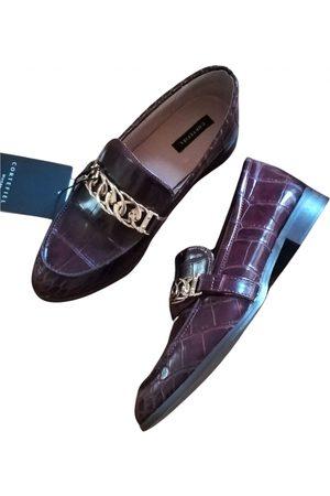 Cortefiel Burgundy Leather Flats
