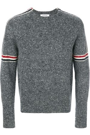 Thom Browne Men Sweatshirts - Rwb Intarsia Armband Tweed Pullover - Grey