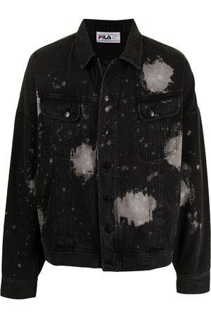 Fila Men Denim Jackets - Paint splatter-print denim jacket