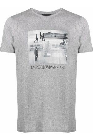 Emporio Armani Graphic-print short-sleeved T-shirt - Grey