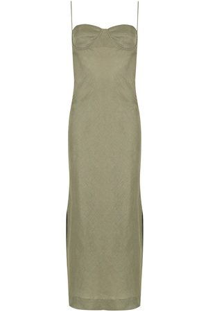 Piu Women Dresses - Aura linen side-slit dress