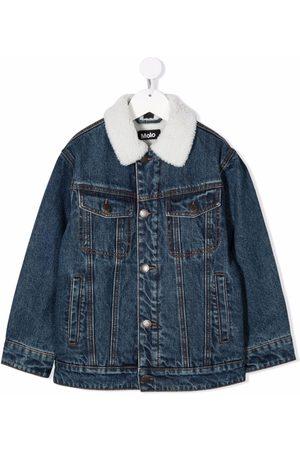 Molo Shearling-collar denim jacket