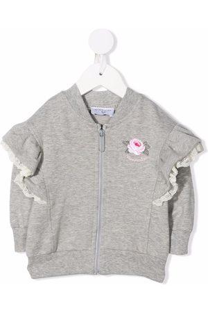Monnalisa Embroidered-rose ruffle-trim jacket - Grey