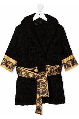 Versace Kids Logo-print hooded bathrobe