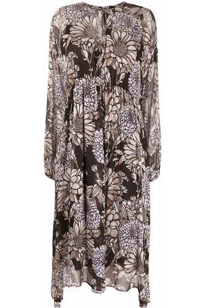 Luisa Cerano Women Printed Dresses - Floral-print smock dress - Grey