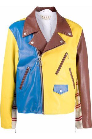Marni Men Leather Jackets - Colour-block leather jacket