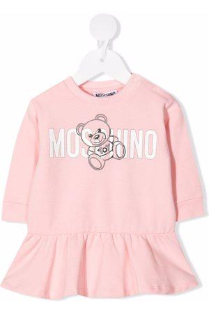 Moschino Kids Teddy Bear logo-print flared dress