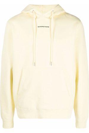 Sandro Paris Men Hoodies - Embroidered-logo cotton hoodie