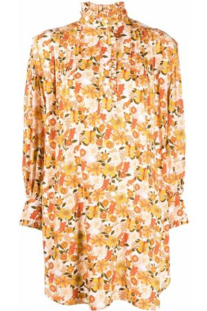 Sandro Paris Women Printed Dresses - Floral-print ruffle-detail dress