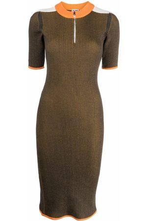 Sunnei Women Knitted Dresses - Ribbed-knit colourblock midi dress
