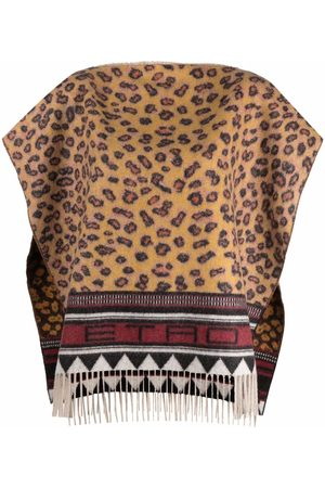 Etro Animal-print cashmere poncho