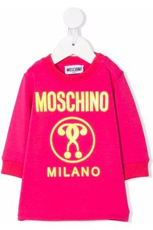 Moschino Kids Embossed question-mark logo dress