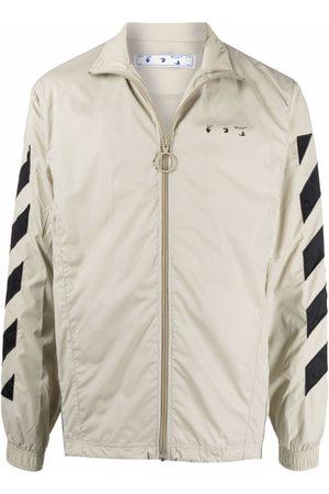 OFF-WHITE Men Sports Jackets - Diag-sleeves zipped windbreaker - Neutrals