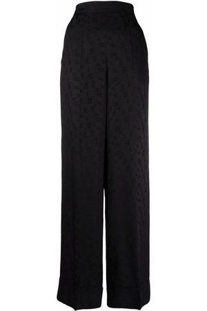 Palm Angels Monogram-pattern wide-leg trousers