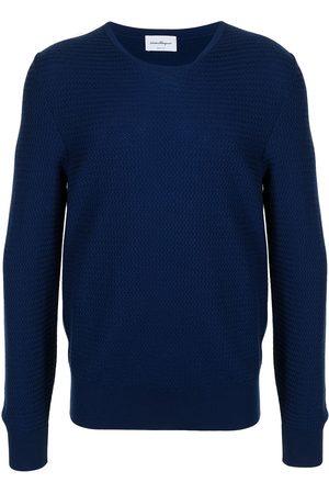Salvatore Ferragamo Chevron-knit wool jumper