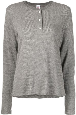 RE/DONE Women Long Sleeve - Button-front long-sleeved T-shirt - Grey
