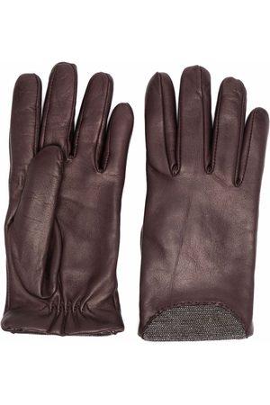 Fabiana Filippi Bead-detailing leather gloves