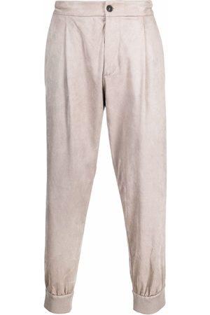 Giorgio Armani Faux-suede elastic-cuff trousers - Neutrals