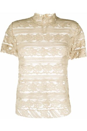 Pinko Sheer lace embroidered blouse - Neutrals
