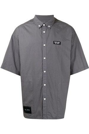 Izzue Logo-patch short-sleeve cotton shirt - Grey