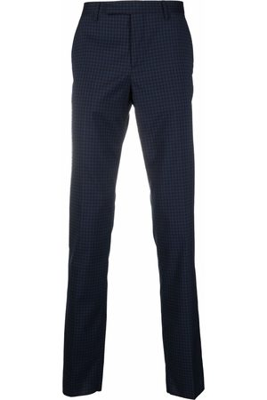 Paul Smith Men Formal Pants - Check-print pressed-crease trousers