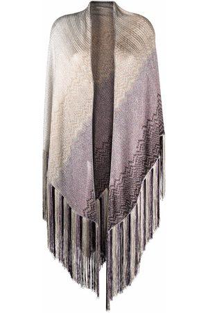 Missoni Zigzag-embroidery fringed-edge scarf - Grey