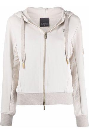 Lorena Antoniazzi Logo-patch zip-up hoodie - Neutrals