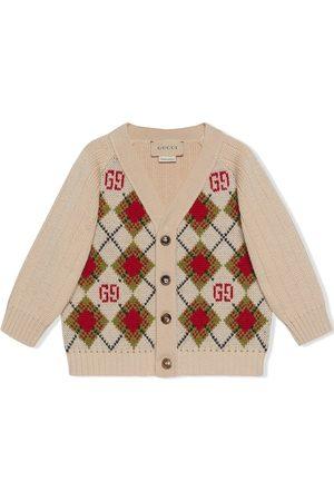 Gucci Kids GG argyle wool cardigan - Neutrals