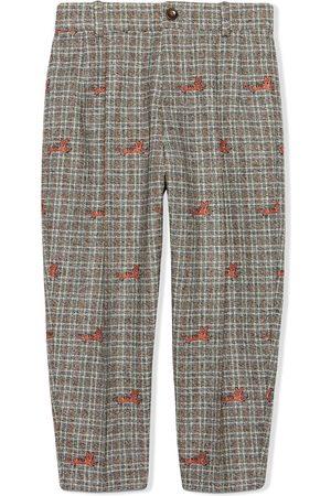 Gucci Kids Cat fil coupé wool trousers - Grey
