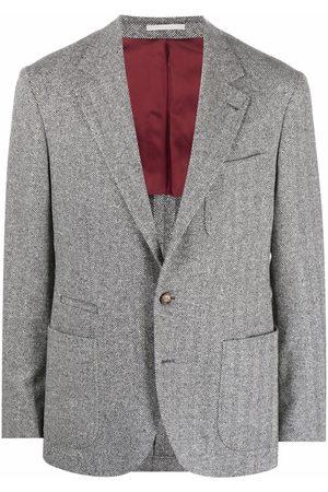 Brunello Cucinelli Men Blazers - Herringbone single-breasted blazer - Grey