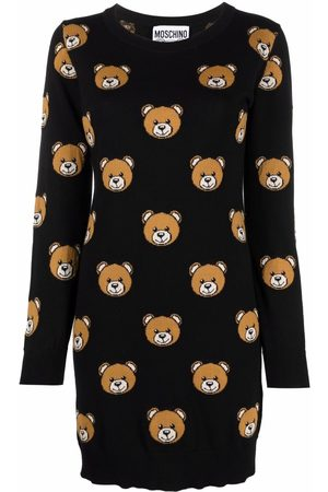 Moschino Women Knitted Dresses - Teddy-intarsia knitted dress