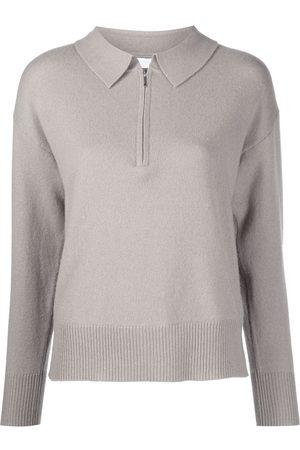 SABLYN Women Polo Shirts - Long-sleeve cashmere polo top - Grey