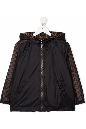 Fendi FF-logo print reversible hooded rain jacket