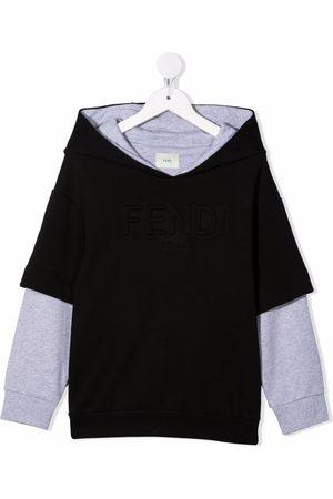 Fendi Kids Embossed-logo long-sleeve hoodie