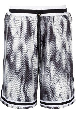 John Elliott Game abstract-print running shorts - SMOKESCREEN