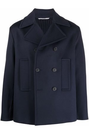 Valentino Ribbed-panel double-breasted coat