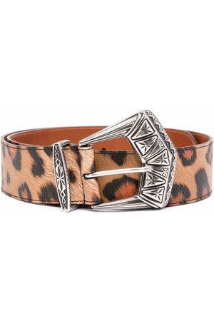 Etro Women Belts - Leopard-print leather belt - Neutrals