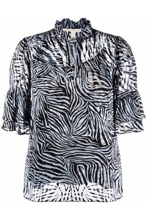Michael Michael Kors Zebra-print ruffle-collar blouse