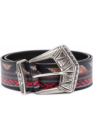 Etro Geometric-print buckle belt