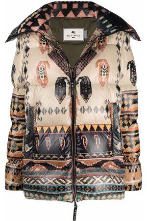 ETRO Women Parkas - Geometric-print puffer coat - Neutrals