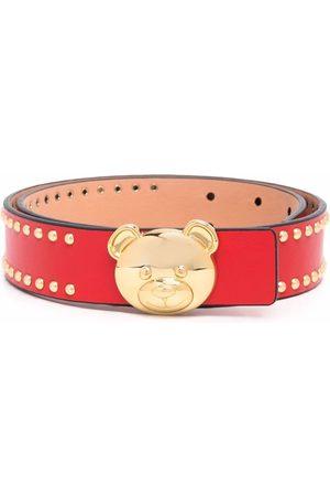 Moschino Women Belts - Logo-plaque leather belt