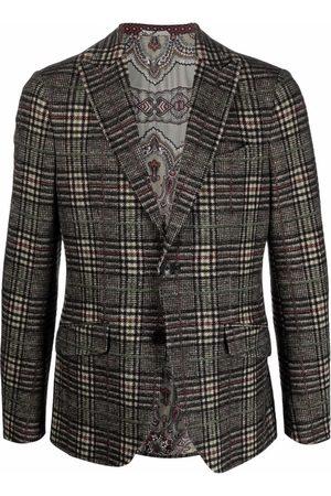 Etro Men Blazers - Tailored plaid-check blazer - Neutrals