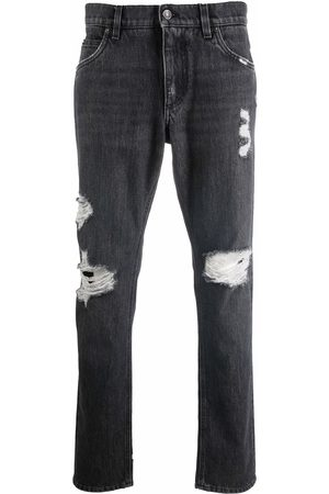 Dolce & Gabbana Distressed low-rise straight leg jeans