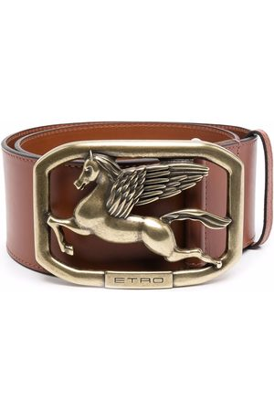 Etro Women Belts - Logo-plaque leather belt